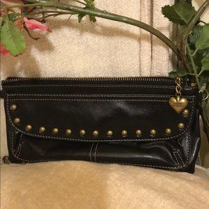 Kathy Van Zeeland  Brown leather clutch